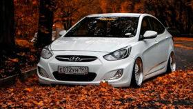 Фото Hyundai, Solaris, хендай, солярис, занижение, седан, осень